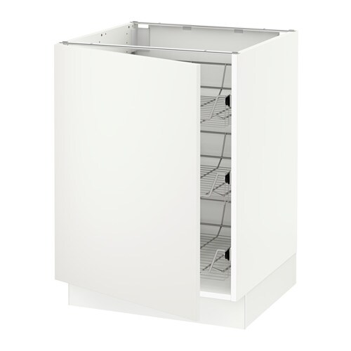Sektion Base Cabinet With Wire Baskets White Haggeby White