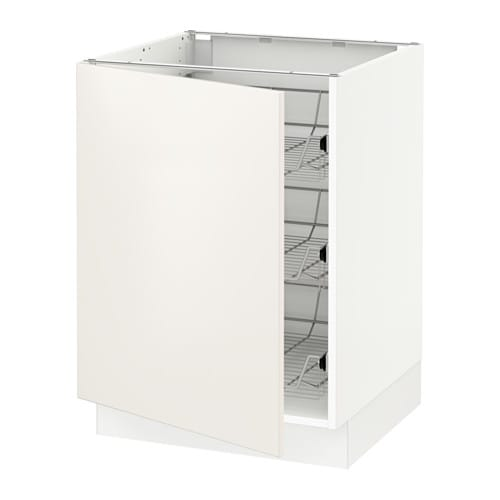Ikea Kitchen White Cabinets: SEKTION Base Cabinet With Wire Baskets
