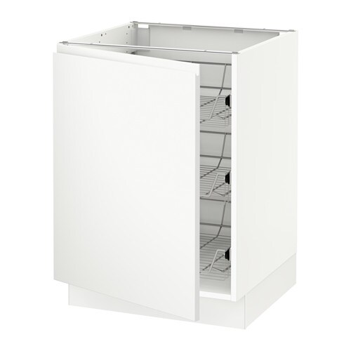 Ikea Kitchen Veddinge White: SEKTION Base Cabinet With Wire Baskets