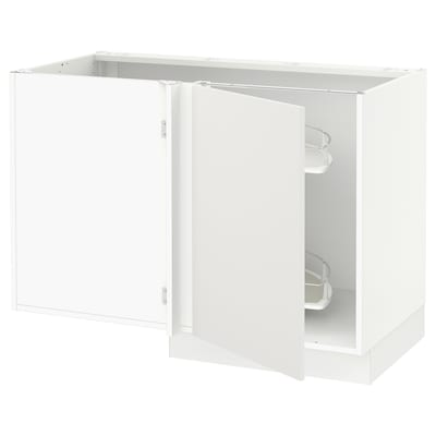 SEKTION Corner base cab w pull-out fitting, white/Häggeby white, 47x24x30 ""