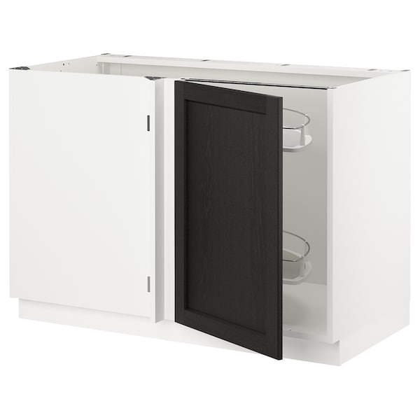 """SEKTION Corner base cab w pull-out fitting, white/Lerhyttan black stained, 47x24x30 """""""
