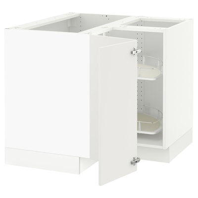 SEKTION Corner base cabinet with carousel, white/Häggeby white, 38x24x30 ""