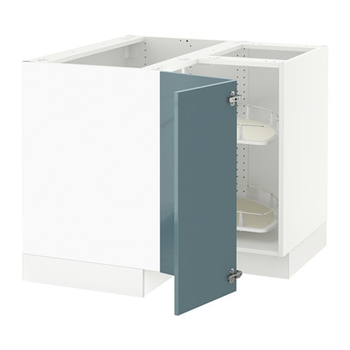 Sektion corner base cabinet with carousel white kallarp for Ikea sektion kitchen cabinets