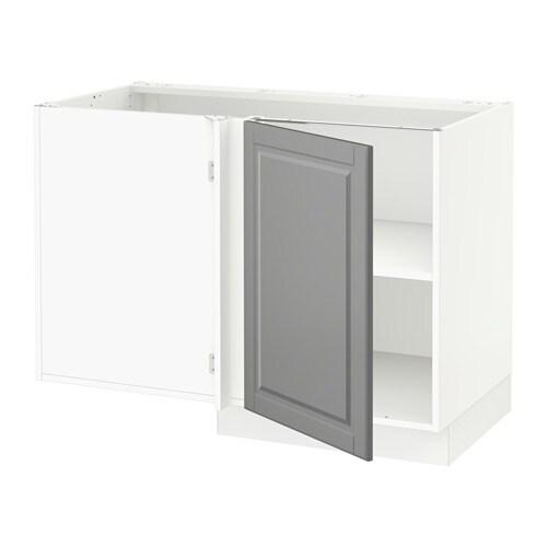 Sektion corner base cabinet with shelf white bodbyn gray ikea - Base cucina ikea ...