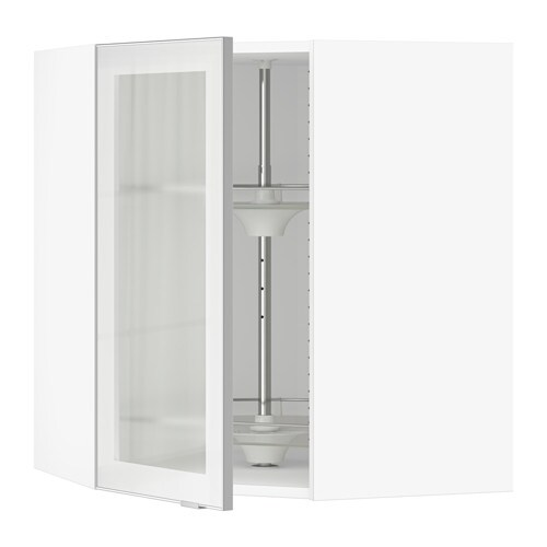 SEKTION Corner Wall Cab/carousel/glass Door, White, Jutis Frosted Glass
