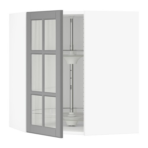 Sektion Corner Wall Cab Carousel Glass Door Bodbyn Gray