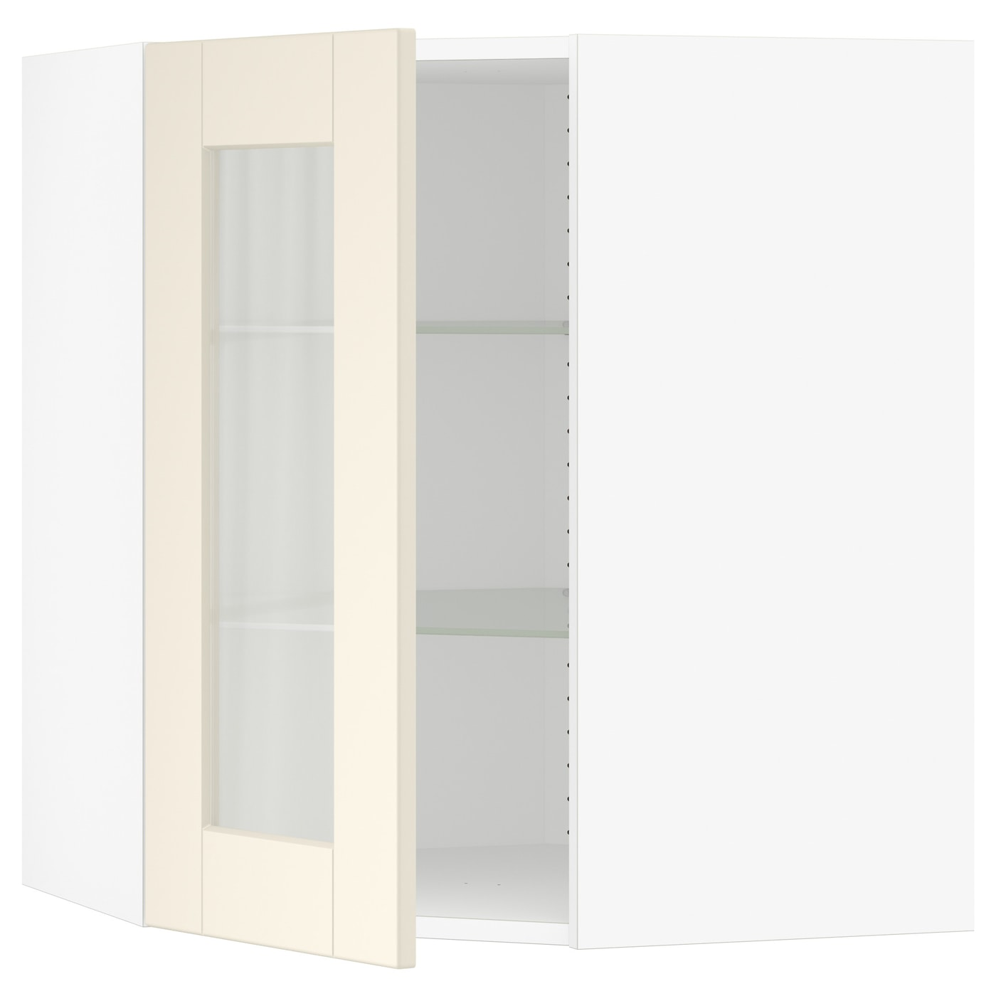 Sektion Corner Wall Cabinet With Glass Door White Grimslov Off