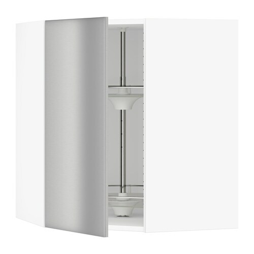Sektion Corner Wall Cabinet With Carousel Grevsta Stainless Steel
