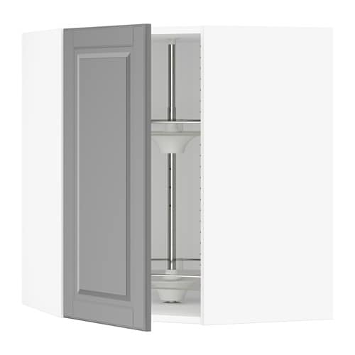 sektion corner wall cabinet with carousel white bodbyn gray