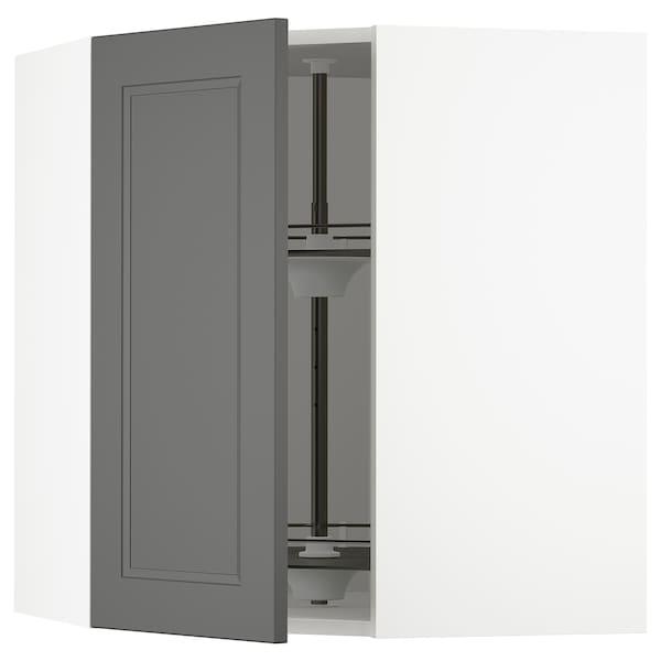 "SEKTION corner wall cabinet with carousel white/Axstad dark gray 26 "" 15 1/2 "" 15 "" 30 """