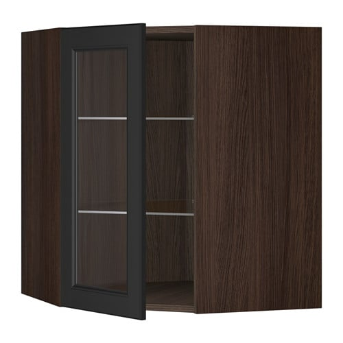 Ikea kitchens bodbyn white and laxarby black brown - Sektion Corner Wall Cabinet With Glass Door Wood Effect