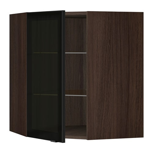 Ikea Patrull Kindersicherung ~ Corner wall cabinet with glass door, brown, Jutis smoked glass