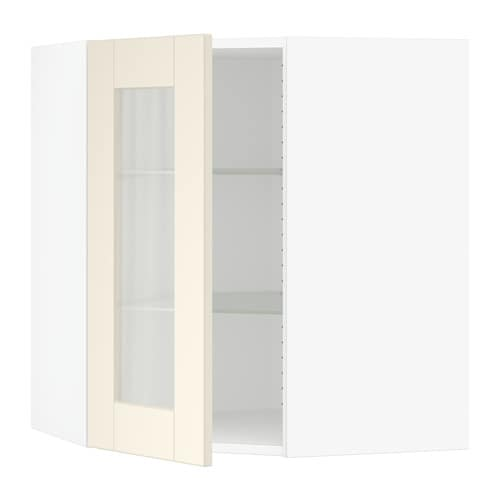 Sektion Corner Wall Cabinet With Glass Door Grimslv Off White
