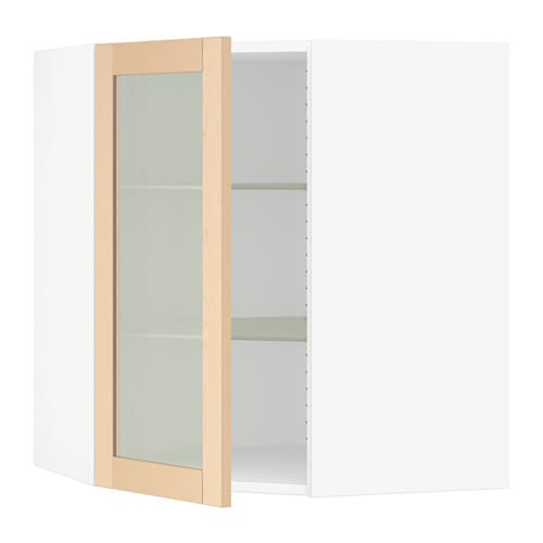 SEKTION Corner wall cabinet with glass door  white, Björket birch
