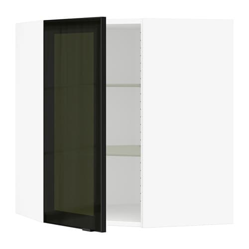 Ikea Patrull Kindersicherung ~ Corner wall cabinet with glass door  white, Jutis smoked glass