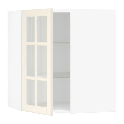 Ikea Patrull Kindersicherung ~ SEKTION Corner wall cabinet with glass door  white, Bodbyn off white