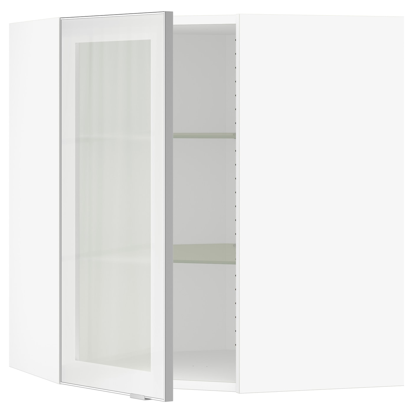 SEKTION   Corner Wall Cabinet With Glass Door, White, Jutis Frosted Glass