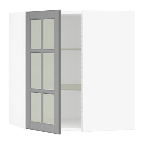 ikea kitchen wall cabinets with glass doors sektion corner wall cabinet with glass door bodbyn gray 17701