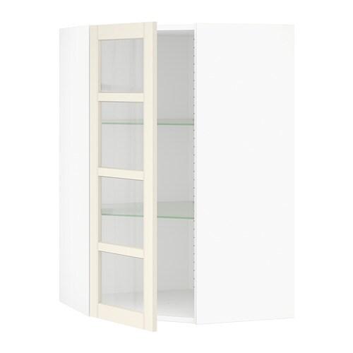 Sektion Corner Wall Cabinet With Glass Door Hittarp Off White