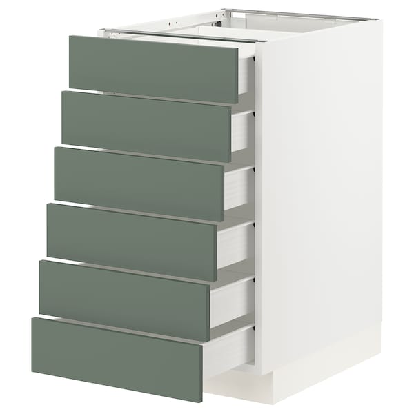 "SEKTION / FÖRVARA Base cabinet/6 fronts/6 low drawers, white/Bodarp gray-green, 18x24x30 """