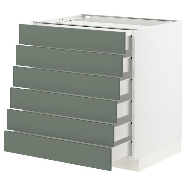 "SEKTION / FÖRVARA Base cabinet/6 fronts/6 low drawers, white/Bodarp gray-green, 30x24x30 """