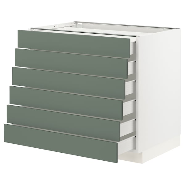 SEKTION / FÖRVARA Base cabinet/6 fronts/6 low drawers, white/Bodarp gray-green, 36x24x30 ""