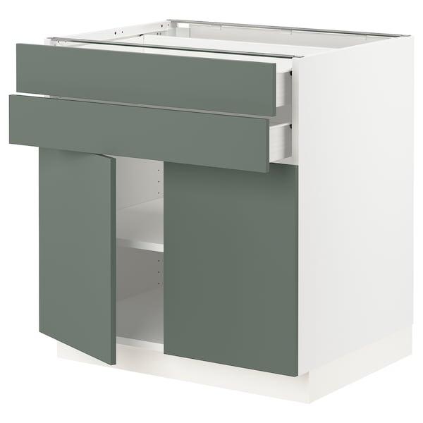 "SEKTION / FÖRVARA Base cabinet w 2 doors/2 drawers, white/Bodarp gray-green, 30x24x30 """