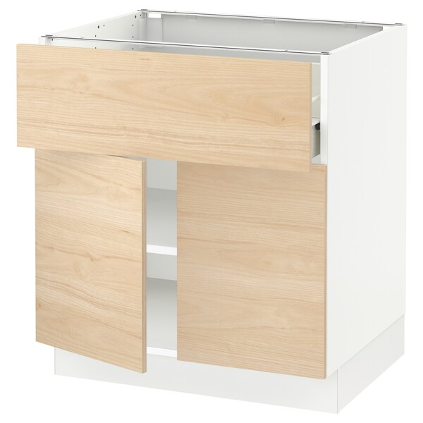"SEKTION / FÖRVARA Base cabinet with drawer/2 doors, white/Askersund light ash effect, 30x24x30 """