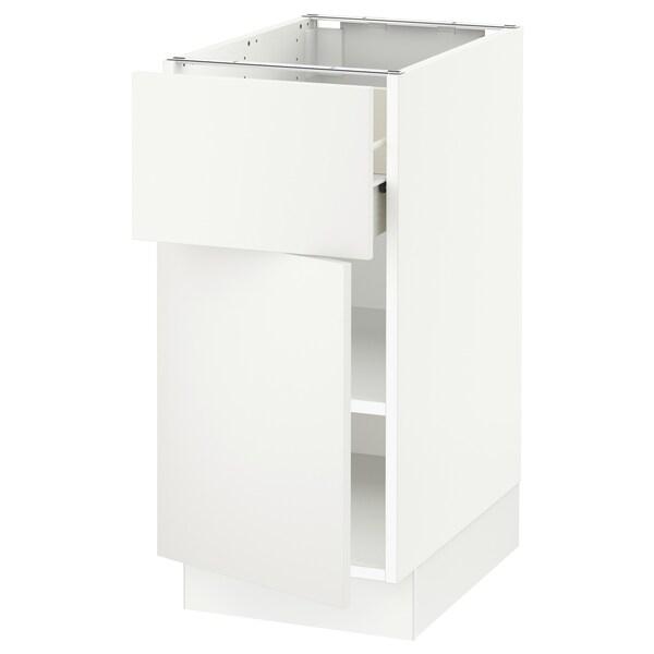 """SEKTION / FÖRVARA Base cabinet with drawer/door, white/Häggeby white, 15x24x30 """""""