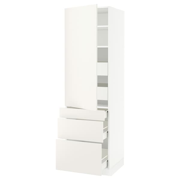 SEKTION / FÖRVARA High cab w door/3 fronts/5 drawers, white/Veddinge white, 24x24x80 ""