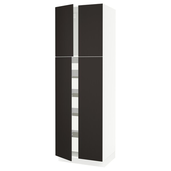 "SEKTION / FÖRVARA high cabinet w 4 doors/5 drawers white/Kungsbacka anthracite 30 "" 24 "" 24 3/4 "" 90 """