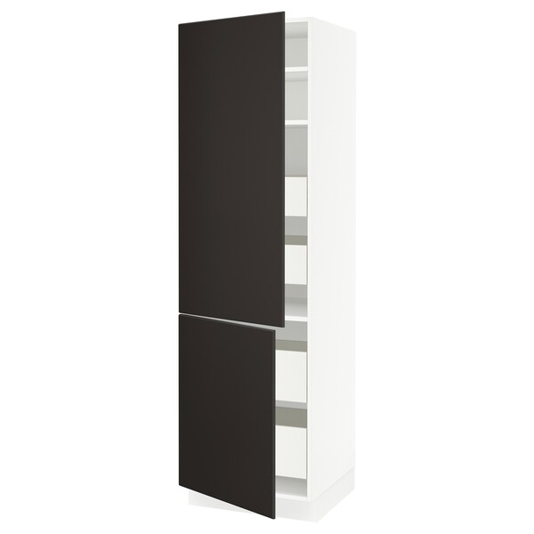 "SEKTION / FÖRVARA High cb w 2 doors/shelves/4 drawers, white/Kungsbacka anthracite, 24x24x80 """