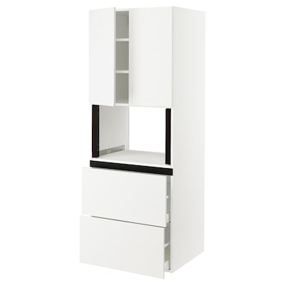 "SEKTION Hi cb f micro w 2 drawers/2 doors, white/Häggeby white, 30x24x80 """
