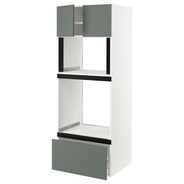 "SEKTION Hi cb f oven/micro w drawer/2 doors, white/Bodarp gray-green, 30x24x80 """