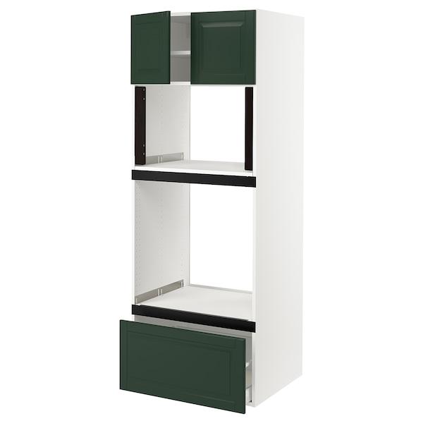 "SEKTION Hi cb f oven/micro w drawer/2 doors, white/Bodbyn dark green, 30x24x80 """