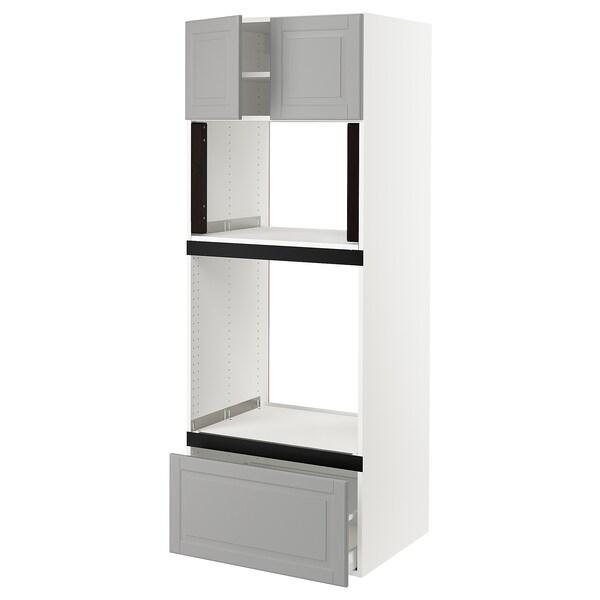 "SEKTION Hi cb f oven/micro w drawer/2 doors, white/Bodbyn gray, 30x24x80 """
