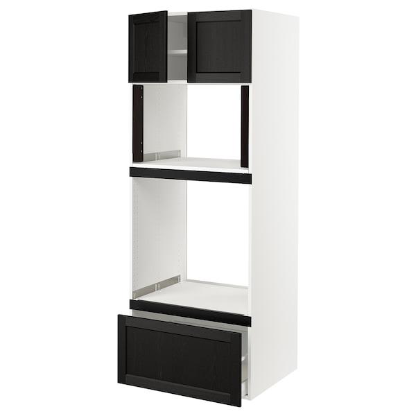 "SEKTION Hi cb f oven/micro w drawer/2 doors, white/Lerhyttan black stained, 30x24x80 """