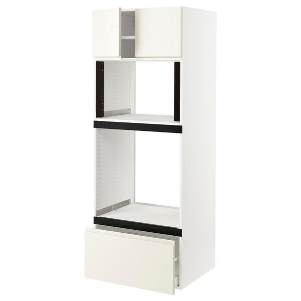 "SEKTION Hi cb f oven/micro w drawer/2 doors, white/Voxtorp high-gloss light beige, 30x24x80 """