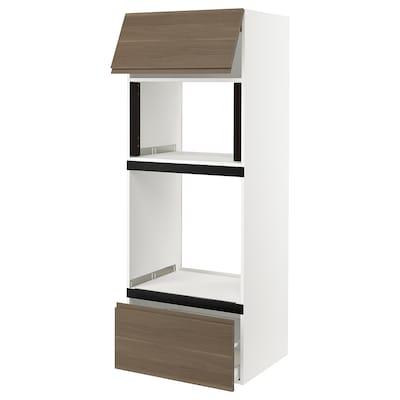 "SEKTION High cab f micro/oven+drawer/door, white/Voxtorp walnut effect, 30x24x80 """