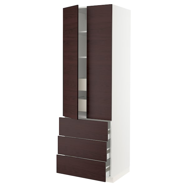 SEKTION High cab w 2 drs/3 fronts/5 drawers, white Askersund/dark brown ash effect, 30x24x90 ""