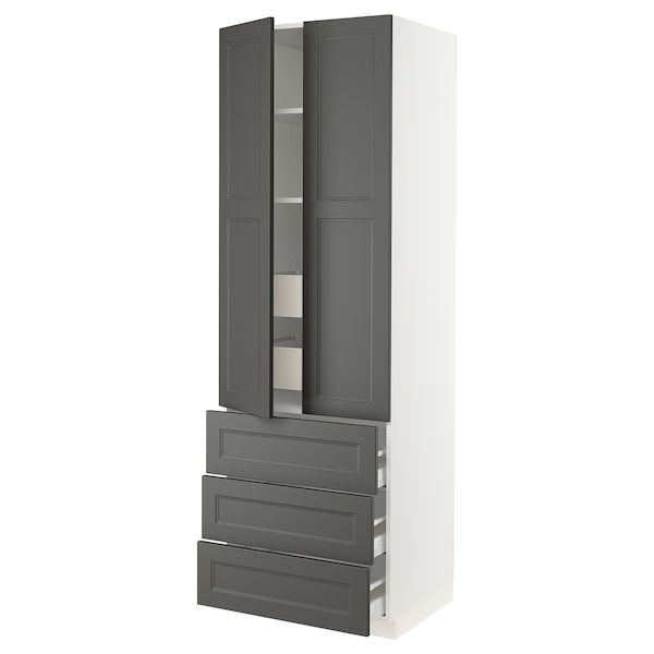 """SEKTION High cab w 2 drs/3 fronts/5 drawers, white/Axstad dark gray, 30x24x90 """""""