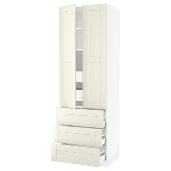 SEKTION High cab w 2 drs/3 fronts/5 drawers, white/Grimslöv off-white, 30x24x90 ""