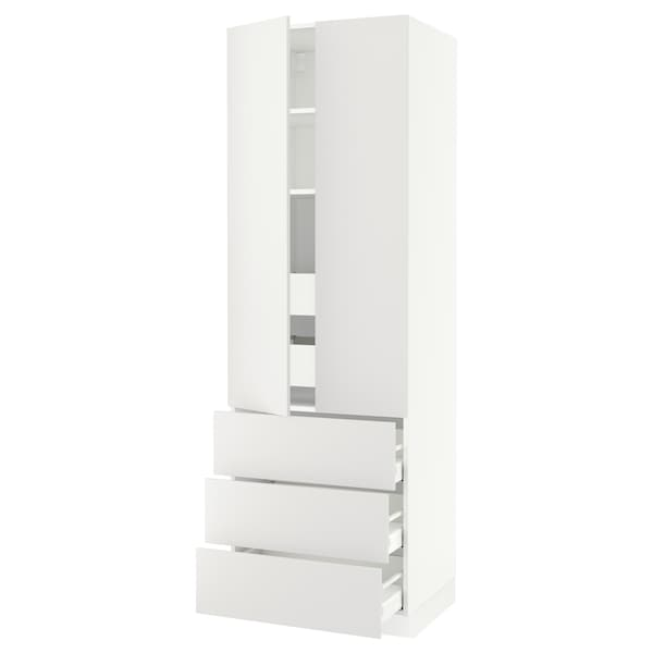 """SEKTION High cab w 2 drs/3 fronts/5 drawers, white/Häggeby white, 30x24x90 """""""