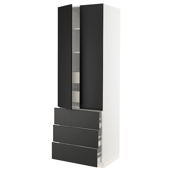 """SEKTION High cab w 2 drs/3 fronts/5 drawers, white/Kungsbacka anthracite, 30x24x90 """""""