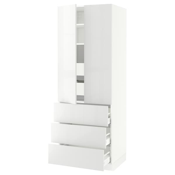 SEKTION High cab w 2 drs/3 fronts/5 drawers, white/Ringhult white, 30x24x80 ""