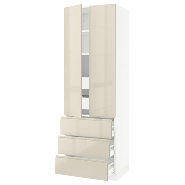 """SEKTION High cab w 2 drs/3 fronts/5 drawers, white/Voxtorp high-gloss light beige, 30x24x90 """""""