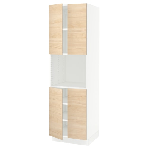 """SEKTION high cabinet for micro w 4 doors white/Askersund light ash effect 24 """" 24 """" 24 3/4 """" 80 """""""