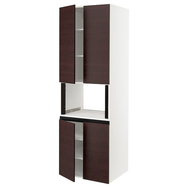 """SEKTION High cabinet for microwave & 4doors, white Askersund/dark brown ash effect, 30x24x90 """""""