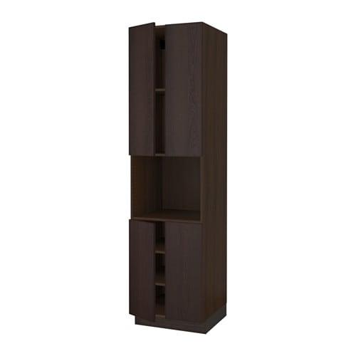 SEKTION High cabinet for microwave & 4doors wood effect brown Ekestad