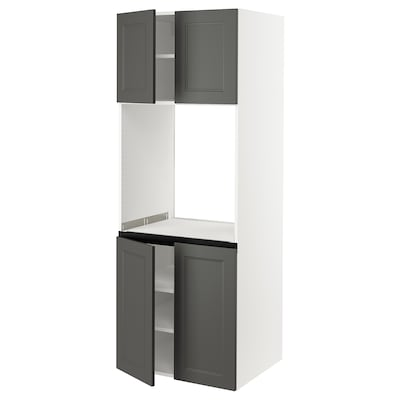 """SEKTION High cabinet for oven w 4 doors, white/Axstad dark gray, 30x24x80 """""""